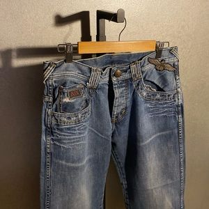 Armani Exchange, patchwork, distressed, blue jeans